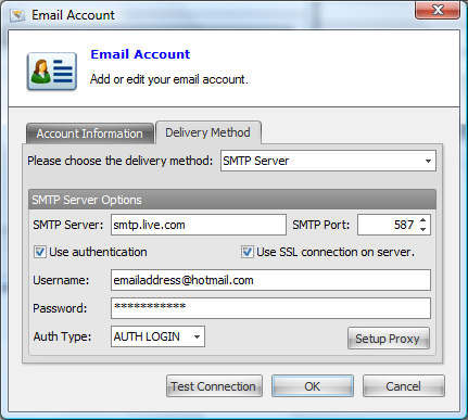 How to send using Hotmail with Email Sender Deluxe